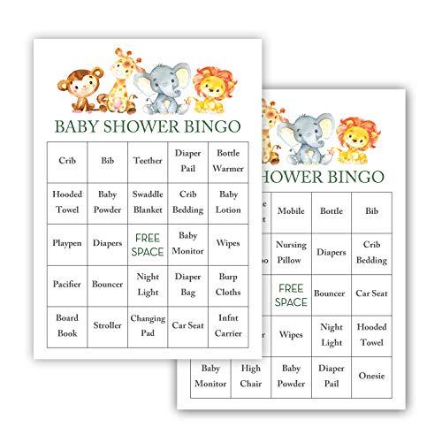 InvitationHouse Watercolor Jungle Animals Baby Shower Bingo Cards - Prefilled - Set of 24