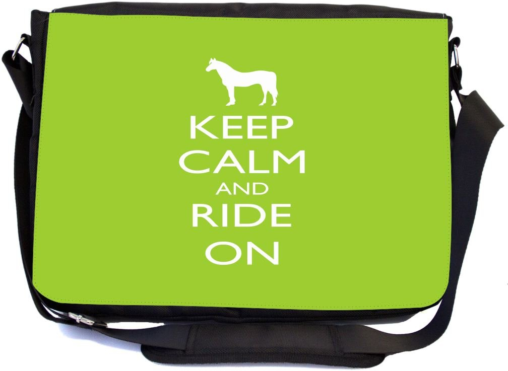 Rikki Knight Keep Calm and Ride On Lime Green Color Design Multifunctional Messenger  Bag - School Bag - Laptop Bag - with padded insert for School or Work ... a28d63d972