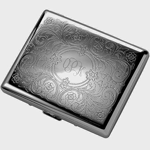 Personalized Gunmetal Paisley Cigarette Case Engraved Free by A & L Engraving