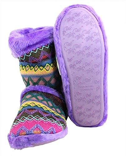 Ladies Knit Boot Slipper Blazin Roxx Purple Print 5TwqqR6n