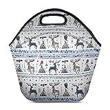 InterestPrint Neoprene Lunch Bag Animals Dream Catcher Insulated Lunchbox Handbag