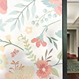 APSOONSELL Non Adhesive Static Decorative Privacy Window Films for Glass Natural Room Decor 22.8in. By 70.8in. (58 x 180CM), Blooming Flowers