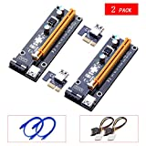 Yuan Yingze 2 pack Mining Card Riser Card PCIe (PCI Express) 16x to 1x Riser Adapter USB 3.0 Extension Cable 60cm PCI-E to SATA Power Cable GPU Riser Adapter Ethereum Mining Riser Card