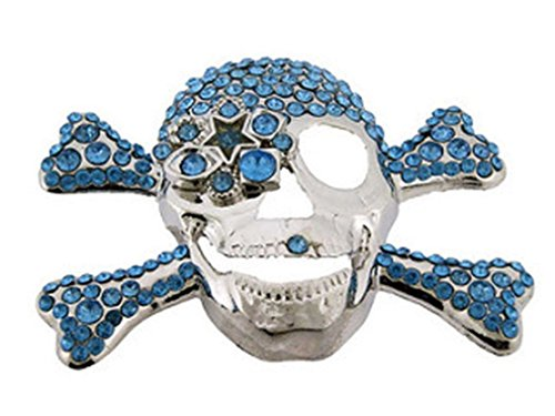 (Skull Belt Buckle Stiff Bling Rhinestones Men'S Metal Gothic Unique Blue Rock)