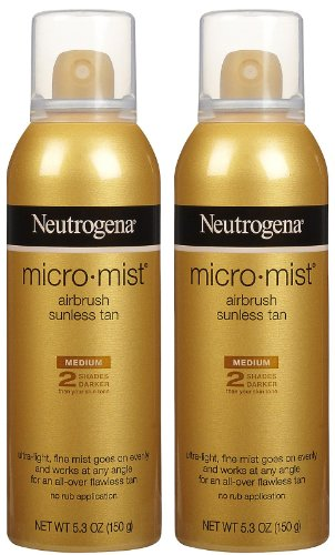 Neutrogena Micromist Airbrush Sunless Tanning Spray with Witch Hazel, Gradual Sunless Tanner with Alcohol-Free, Oil-Free & Non-Comedogenic Formula, Medium Intensity, 5.3 oz (Pack of 2)