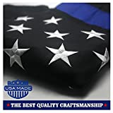 primary color streamers - Thin Blue Line American Police Flag 3x5 ft: Made in USA - Embroidered Stars and Sewn Stripes with Grommets Black White and Blue USA Flags