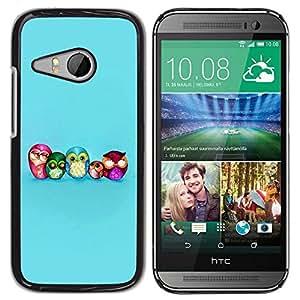 Be Good Phone Accessory // Dura Cáscara cubierta Protectora Caso Carcasa Funda de Protección para HTC ONE MINI 2 / M8 MINI // Owl Smart Blue Baby Kids School Teacher