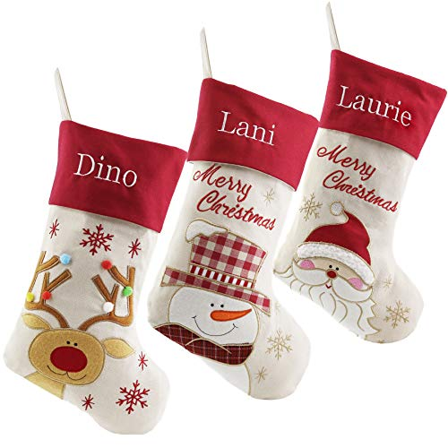 WEWILL Personalized Linen Christmas Stockings Custom Name Embroidered Set of 3, Reindeer, Santa, Snowman ()