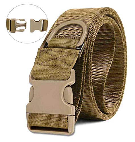 Selighting Tactical Battle Belts Quick Release Riggers Belt Heavy Duty Nylon Web Belt Concealed Carry Gun Holster Belt with Buckle (Brown, One Size)