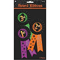 "Amscan Halloween Trick Or Treat Party Costume Award Ribbon (3 Piece), Multicolor, 11 1/2"" x 6 1/4"""