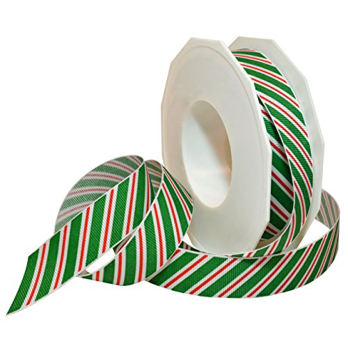 (Morex Ribbon 80605/20-607 Candy Cane Stripes Grosgrain Ribbon, 7/8-Inch by 20-Yard, Emerald)
