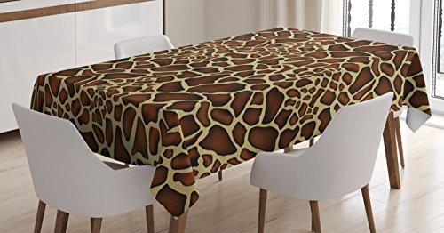 Ambesonne Zambia Tablecloth, Giraffe Skin Pattern Wildlife Symbolic Zoo Hippie Style Artful Picture, Dining Room Kitchen Rectangular Table Cover, 52 W X 70 L Inches, Yellow Redwood