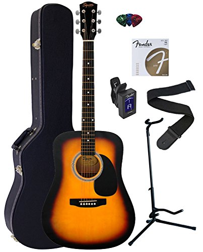 fender-squier-dreadnought-acoustic-guitar-bundle-with-hardshell-case-guitar-stand-tuner-strap-string