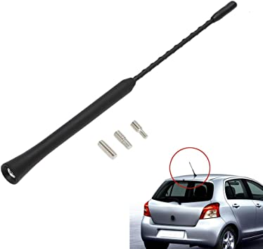 Antena de Radio Universal para Coche Radio Am/FM Negro con Adaptador autoradio estéreo antiruido (23cm / 9 Inch Short)