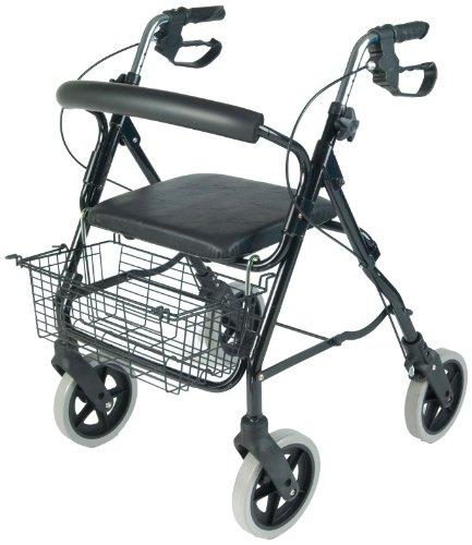 Rollator (Aluminium, 4 Räder, mit Tasche und Korb)