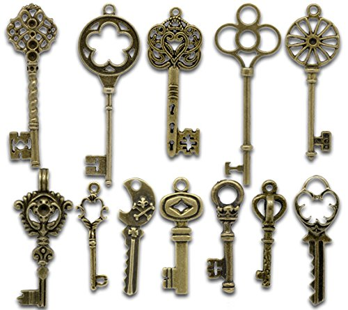 PEPPERLONELY Brand 24PC Mixed Antique Bronze Key Charms Pendants - 33 69