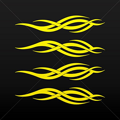 Decal Sticker Tribal Racing Design Decoration Motorbike Raci Yellow (5 X 0.95 Inches)