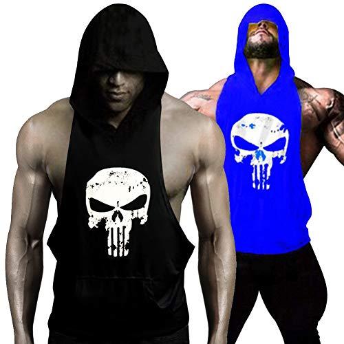 GZXISI Mens Skull Print Stringer Bodybuilding Gym Tank Tops Workout Fitness Vest (2 Pack:Black Hoodie,Blue Hoodie, X-Large)