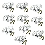 SODIAL(R) 10pcs 30mm Diamond Crystal Glass Door Drawer Cabinet Furniture Handle Knob Screw