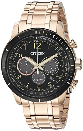 Citizen Men's 'Chronograph' Quartz Stainless Steel Casual Watch, Color:Rose Gold-Toned (Model: CA4359-55E) (55e Watch)