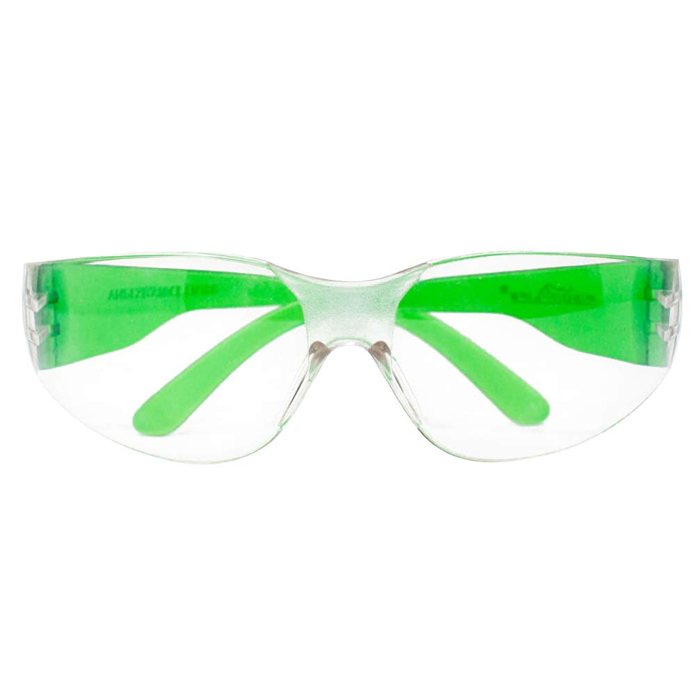 SAFE HANDLER Protective Safety Glasses, Clear Polycarbonate Impact and Ballistic Resistant Lens - Green Temple (Case of 12 Boxes, 144 Pairs Total) by Safe Handler (Image #3)