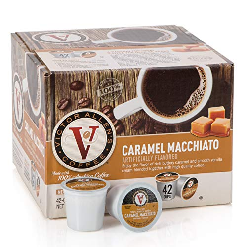 Victor Allen's Coffee K Cups, Caramel Macchiato Single Serve Medium Roast Coffee, 42 Count, Keurig 2.0 Brewer Compatible