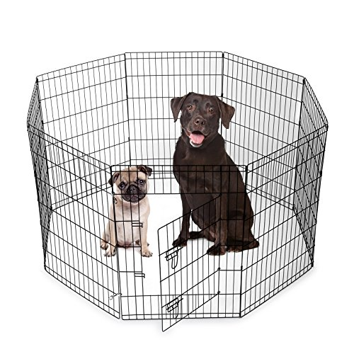 SmithBuilt Crates 8 Panel Metal Wire Popup Portable Fence Playpen Folding Exercise Yard with Door and Carry Bag, 36-Inch High, (Black Puppy Pen)