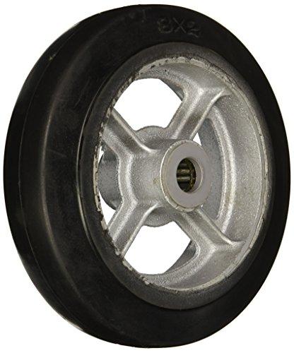 "Wesco 150120 8"" Diameter Cast Iron Center Moldon Rubber Wheel, 600-lb. Capacity, 2"" Tread Width, 3/4"" Bore, 2-3/16"" Hub Diameter"