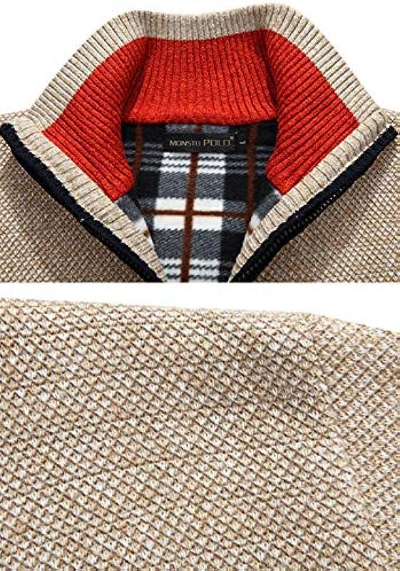 LXHK męska kurtka z dzianiny Cardigan kurtka do stroju ludowego zima drobno dziany płaszcz z kołnierzem i polarem wewnętrzna strona zamek błyskawiczny długie rękawy kurtka sweter powłok