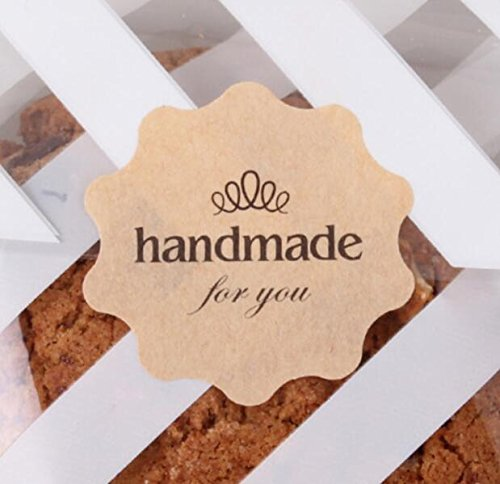 "IMagicoo 240 Lovely Cute ""Handmade"" Label Seal Sticker Handmade Baked Envelope Label Decorative Sticker (Style-3(4x4cm))"