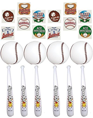 Inflatable Baseball Party Favors 24'' Baseball Bat and 9'' Ball Set - 1 Dz of each PLUS 72 pc Baseball tattoos by happy deals