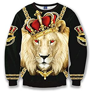 Pizoff Unisex Hipster Long Sleeve Crew Neck Luxury King Of Lion 3D Graphic Print Black Sport Pullover Sweatshirts Y1627-10-XXL