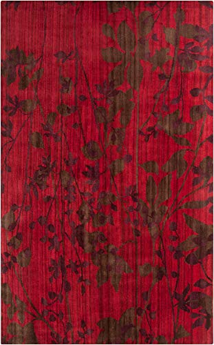 Venetian Red Wool - Surya Brocade BRC-1005 Transitional Hand Knotted 100% New Zealand Wool Venetian Red 5' x 8' Floral Area Rug