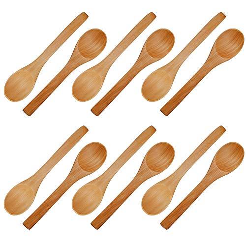 Spoons Wooden Wash (Handmade Wooden Spoon, 12 PCS Small Wooden Serving Spoons Condiments Salt Spoons Honey Teaspoon Coffee Tea Sugar Salt Jam Mustard Ice Cream Spoons Wooden Cutlery)