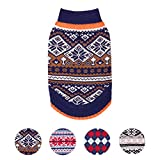 Blueberry Pet Nordic Pattern Inspired Fair Isle Navy Blue Snowflakes Dog Sweater, Back Length 12