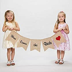 "vLoveLife ""Here Comes the Bride"" Burlap Banner Sign With Red Heart Wedding Flower Children Ceremony Decoration Decor"