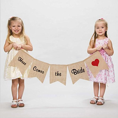 "vLoveLife ""Here Comes the Bride"" Burlap Banner Sign With Red Heart Wedding Flower Children Ceremony Decoration (Here Comes The Bride Burlap Sign)"