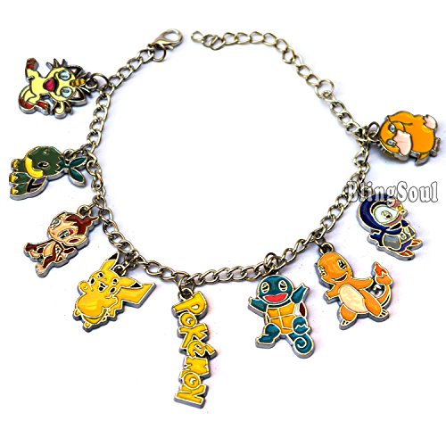 Pokemon Bracelet - Themed Charms Pokemon Go, Pikachu, Charmander, Squirtle, Psyduck. Ideal Gift Idea Photo - Pokemon Gaming
