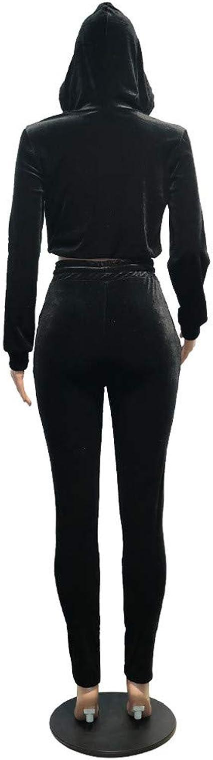 2Pc Women/'s Velour Sweatsuit Angel Sequins Spark Pants Sport Tracksuit Jumpsuits