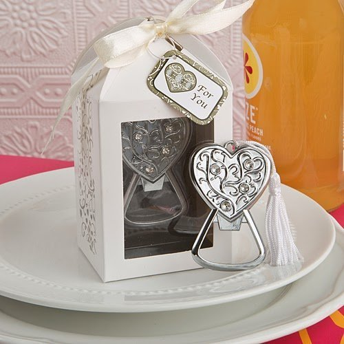 72pcs Crystal Love Heart Bottle Opener For Wedding Party Favor by cute rabbit