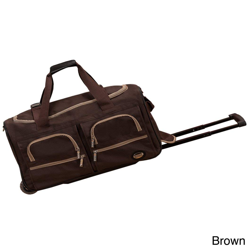 Brown 22Inch Sports Pattern Carry Rolling Upright Traveling Duffle Bag,