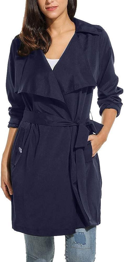 Women Casual Wrap Belted Coat Long Sleeve Solid Lightweight Windproof Coat