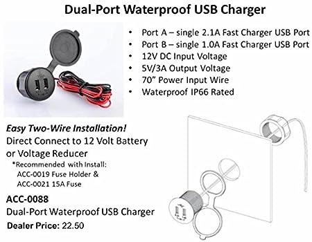 amazon com golf cart 12v dual port waterproof usb charger automotive