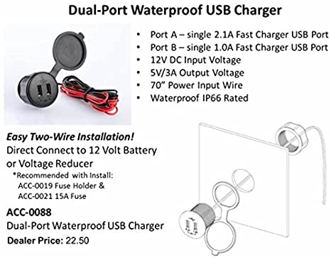 amazon com golf cart 12v dual port waterproof usb charger automotive
