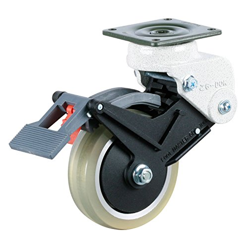 FOOTMASTER-GDS-100-BSF-LUD-4-Diameter-Polyurethane-Shock-Absorbing-Top-Plate-Caster-Swivel-with-Wheel-Brake-Two-Precision-Bearing-6-14-Mounting-Height-Square-Plate-2-78-x-2-78-Bolt-Holes-2-14-x-2-14-2