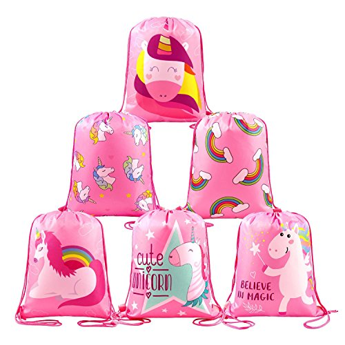 BeeGreen Unicorn Party Favors Supplies Bags Girls, 6 Pack Kids Drawstring Backpack Cute Rainbow Unicorn Patterns