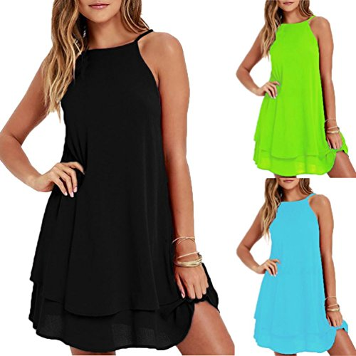 Women Loose Mini Dress, Changeshopping Solid Strappy Summer Beach Dress