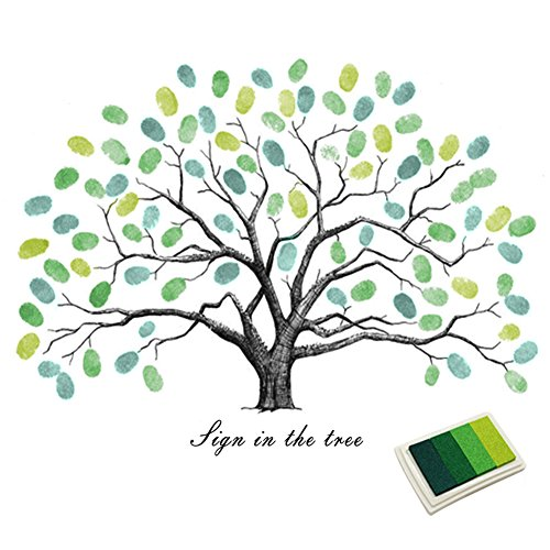 Fingerprints Tree, Proboths Creative Wedding Guest Signature Sign-in Book Canvas Ballons Tree Fingerprints Painting Decor for Wedding Party with 4pcs Ink Pads Green