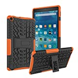 Amazon Kindle Fire 8 Tablet Case (2017/2018 Release), Roiskin Shockproof Heavy Duty Protective Case Cover with Kickstand Hard PC Back Cover Soft TPU Protection for Kindle Fire HD 8(Orange)