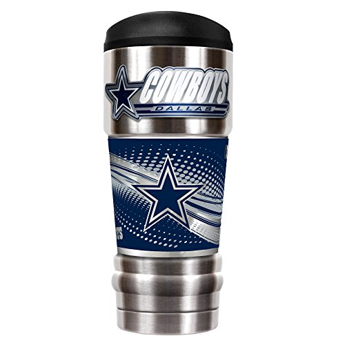 Great American Products NFL Dallas Cowboys Unisex NFL Cowboys 18 oz Vacuum Insulated MVP Tumblr, Silver
